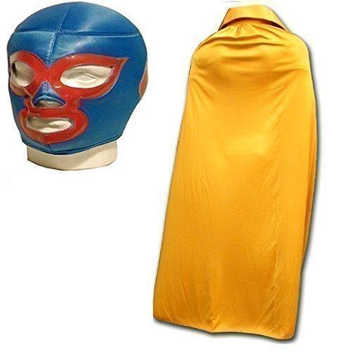 WRESTLING MASKS UK Men's Nacho Libre Luchador Wrestling Mask With Cape One Size Gold by Wrestling
