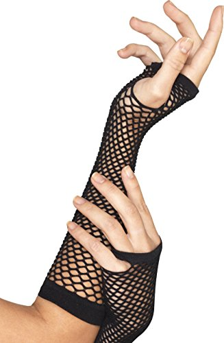 Smiffy's Women's Long Fishnet Gloves, Fingerless, Black, One Size, 44872 (Halloween Punk Rocker Costumes)