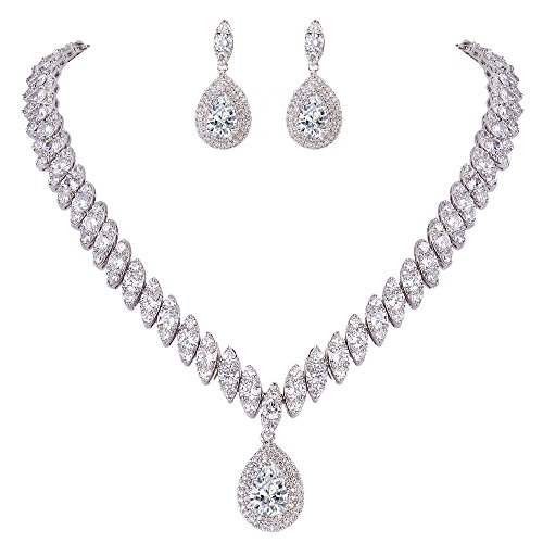 EVER FAITH Women's CZ Marquise-Shaped Leaf Teardrop Pendant Necklace Earrings Set Clear Silver-Tone