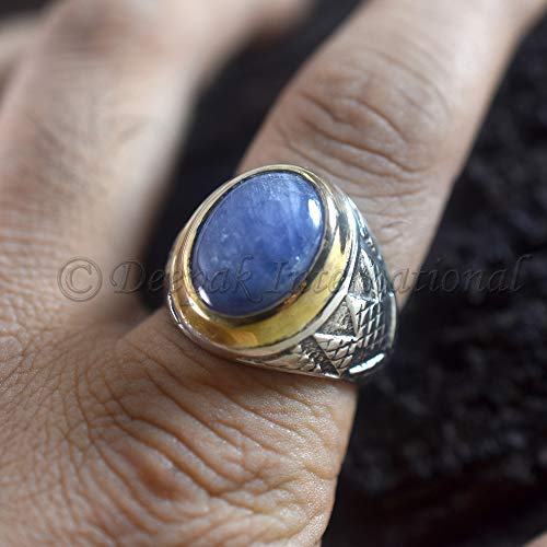 Natural Tanzanite Mans Ring 925 Sterling Silver Overlay Tanzanite Jewelry Ring Two Tone Silver Ring Designer Handmade Ring Statement Ring Blue Tanzanite Oval Shape Gemstone Ring - Tanzanite Tone Ring Two