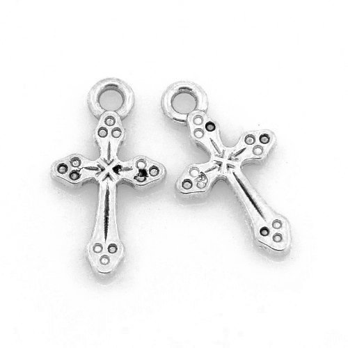 Paquet 10 x Argent Antique Tib/étain 19mm Breloques Pendentif - Charming Beads ZX09525 Croix -