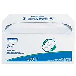 "Scott Toilet Seat Cover (39000), White, Disposable, 14.5"" x 17"", 250 Covers / Pack, 20 Packs, 5,000 Covers / Case"