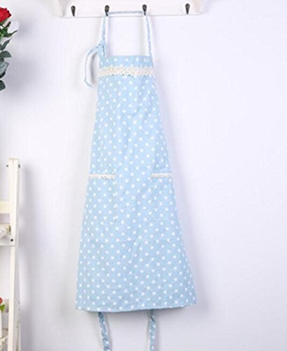 MwaaZ Cute and Convenient Creative Baking Aprons Wave Point Lace Apron for Home Cooking (Light Blue)