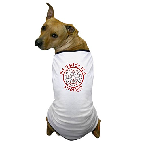 CafePress - MY DADDY IS A FIREMAN Dog T-Shirt - Dog T-Shirt, Pet Clothing, Funny Dog Costume (Dog Firefighter Costume)