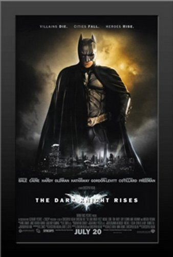 Batman The Dark Knight Rises Movie Art Print — Movie Memorabilia — 11x17 Poster FRAMED, Vibrant Color, Features Christian Bale, Michael Caine, Gary Oldman, Anne Hathaway, Tom Hardy, Morgan (Batman Art Print Poster)