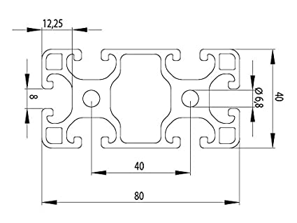 Aluminium Profile 40X80L I Type Nut 8/ /Standard 26/EUR//m