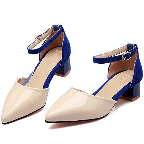 CoolCept Women Mid Block Heels Sandals Patent Ankle Strap Summer Shoes Sizes UK1-10 Blue qTDxv