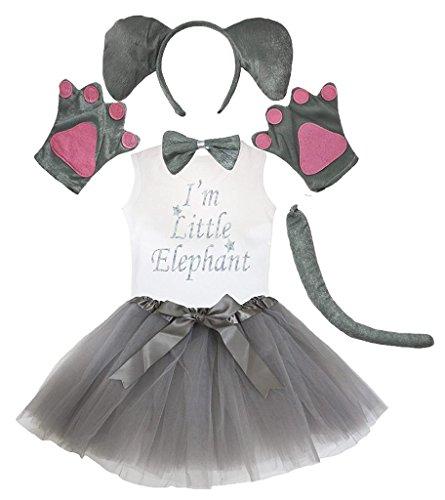 Petitebella Headband Bowtie Tail Gloves Shirt Skirt 6pc Girl Costume (Elephant, 6-8 Yr)