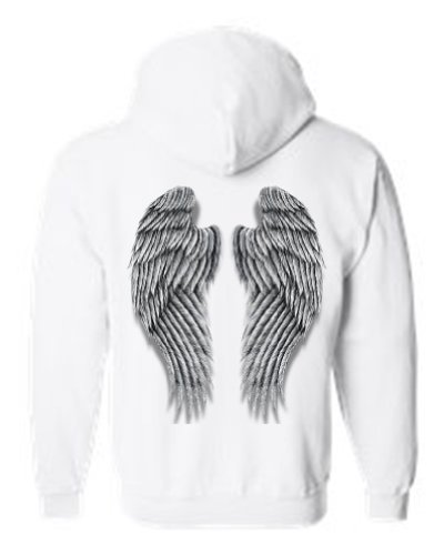 Angel White Hoodie - SHORE TRENDZ Women's/Unisex Zip-Up Hoodie Beautiful Fluffy Angel Wings WHITE (Medium)
