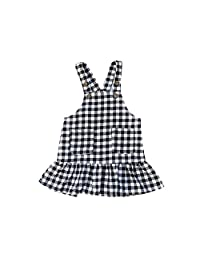 ALLAIBB Newborn Baby Girls Dress Plaid Overalls Skirt Strap Ruffles Jumpsuit size 90 (plaid)