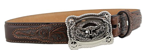 [Nocona Boys' Tooled Billet Longhorn Buckle Belt Brown 28] (Big Cowboy Belt)