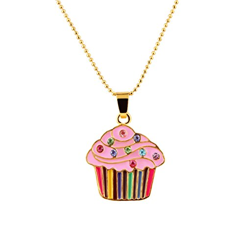 - Candygirl Cupcake Cuties Enamel Pendant Necklace in Gift Box (pink)
