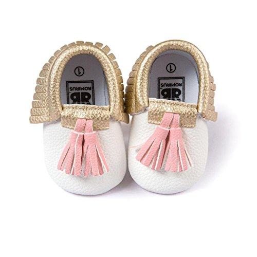 MuSheng Weiche Sohle Krabbelschuhe Babyschuhe Kleinkind Hausschuhe Karikatur für Baby Mädchen Weiß