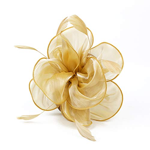 Hilary Ella Charming Mesh Feather Hair Clip Women Girls Hairpin Cocktail Party Flower Barrette Fascinator Hat (A - Yellow Gold Womens Brooch