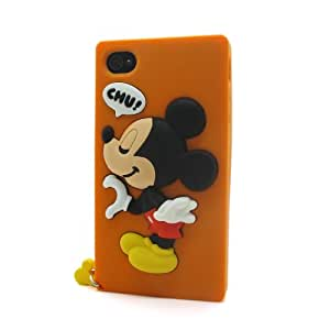 Naranja Mickey Mouse La funda de silicona suave cubierta protectora para Apple iPhone 4 4G 4s 4th Generation with CableCenter Cable Tie