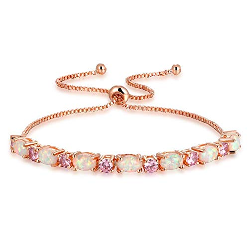 CiNily Rose Gold Plated Bracelet-Ajustable Sparkling Cubic Zirconia Pink Opal Bracelet for Women Girls for Her