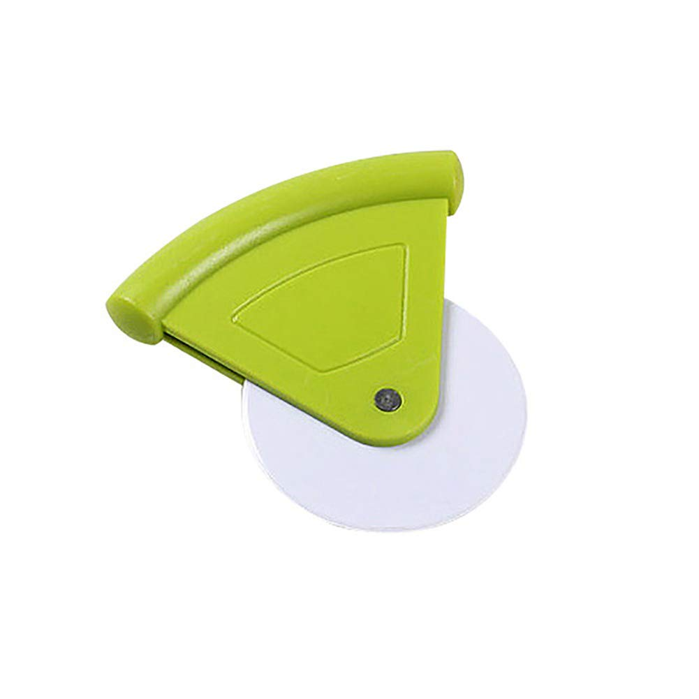yanbirdfx Portable Plastic Pizza Cutter Round Shape Cake Bread Knife Cutting Baking Tool Green