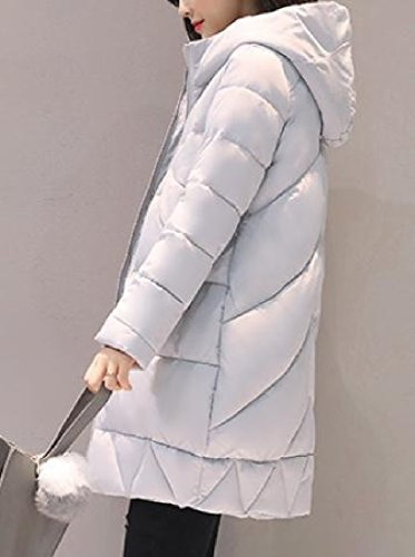 Long Women Warm Keeping Againg Pure Sezioni Grigio Pocket Color Cappotti Chic Down qO1BWSwWxd