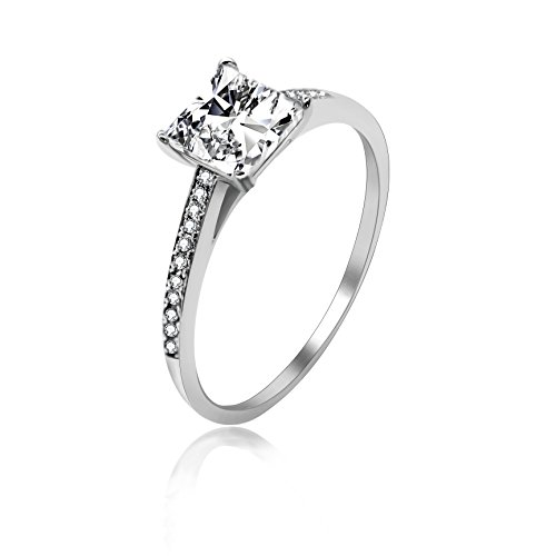 Brilliant Cut Princess Bracelet - Uloveido 4-Prong Set 2g Princess Brilliant Cut Simulated Diamond CZ Solitaire Engagement Promise Ring Rhodium Plated 925 Sterling Silver Size 7 LJ078