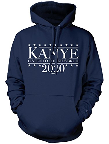 LOGOPOP Kanye For President 2020 Unisex Adult Hoodie, L, Navy