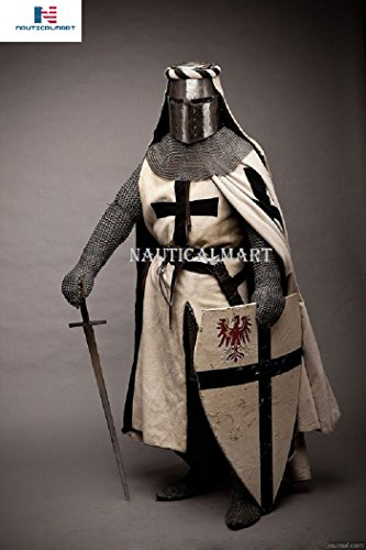 NAUTICALMART Knight's Templar Cross Surcoat Chain Mail Hood Armor with Crusade (Cross Crusade Halloween)