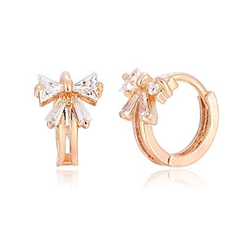 Windshow Girls 18K Gold Plated Mini Butterfly Bowknot CZ Huggie Hoop Earrings 0.66