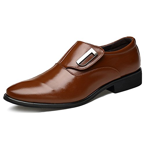 Classy Outfits For Men (Freashine Men's Formal Slip On Oxford Classic Faux Leather Shoes Brown 12 US)