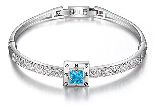 Menton Ezil White Gold Blue Crystal Love Style Polished Hinged Bangle Bracelets for Wedding-Jewelry (Ruby Bracelet Slide)