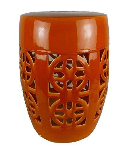 Sagebrook Home FC10445-01 Openwork Garden Stool, Orange Ceramic, 13.5 x 13.5 x 19 Inches