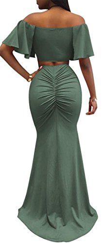 Dresses Women Off Split Ruffled Ruched Mermaid Cromoncent Bodycon Green Shoulder Army 8wUSWqf