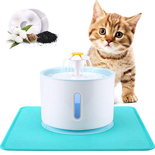 DancePet Pet Fountain, 2.4L LED Cat Water Fountain Dog Drinking Fountain with LED Indicator & 2 Replaceable Filters and…