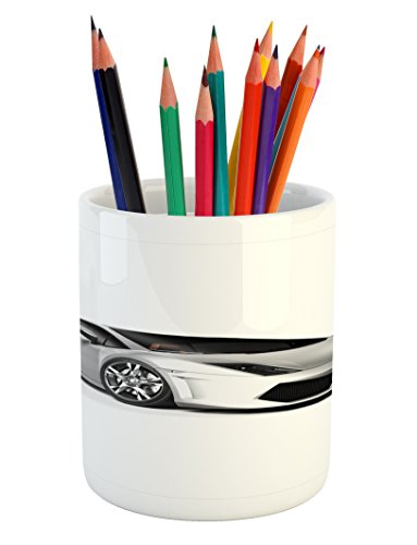 Lunarable Cars Pencil Pen Holder, Sports Car with Futuristic Inspired Wheels Reflection Design Artful Print, Printed Ceramic Pencil Pen Holder for Desk Office Accessory, Silver Black Grey ()