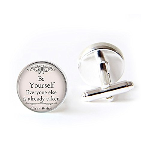 LEO BON Mens Classy Cufflinks Be Yourself Everyone Else is Already Taken Oscar Wilde Quote Deluxe Wedding Business Cuff Links Movement Shirts Studs Button from LEO BON