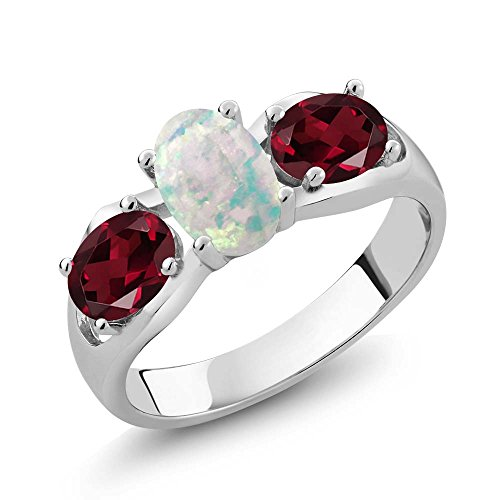 - 1.63 Ct Oval Cabochon White Simulated Opal Red Rhodolite Garnet 925 Sterling Silver Ring