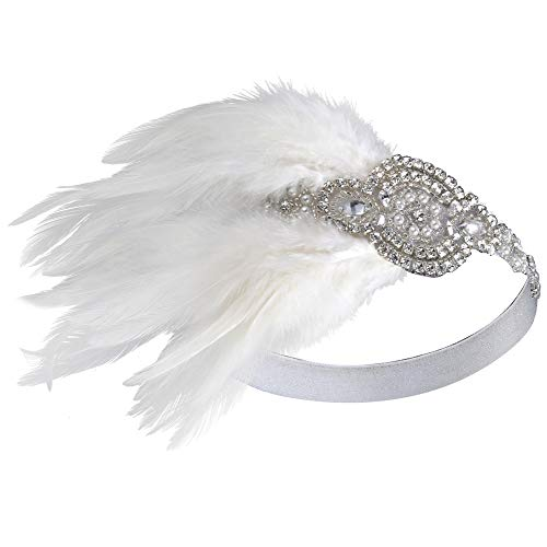BABEYOND 1920's Bridal Headpiece Roaring 20s Wedding Headband Flapper Feather Headband 1920s Flapper Gatsby Hair Accessories