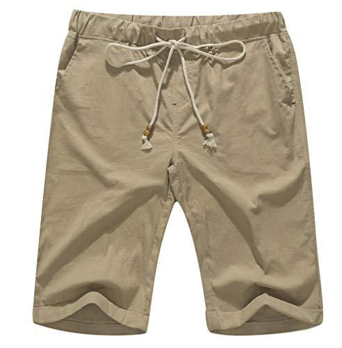 Boisouey Men's Linen Casual Classic Fit Short Khaki L