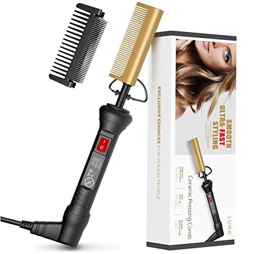 Hot Comb Hair&Beard Professional Straightener, Ceramic Fast Heating, Anti-Scald Comb with Protector, Dual Voltage Electric Pressing Comb Hair Straightener for Stylist and Salon at Home