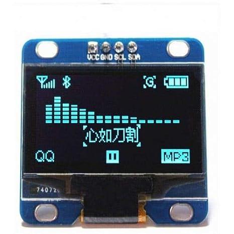 Weinhsl 0,96 Pulgadas Azul I2C Iic Serial 128X64 OLED LCD Módulo De Pantalla Led para Arduino- Azul: Amazon.es: Electrónica