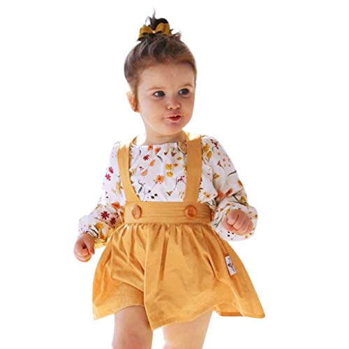 Sunhusing Toddler Baby Girl Floral Print Long Sleeve Romper Tops+Strap Tutu Skirts Outfits Set ()