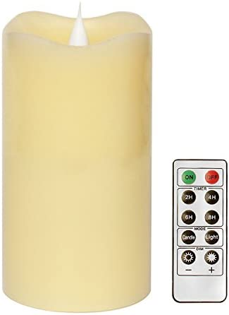 Remote Control Moving Wick Led Candle With Timer, Pillar Led Candle for Home and Parties, 3×5 Inches, Ivory