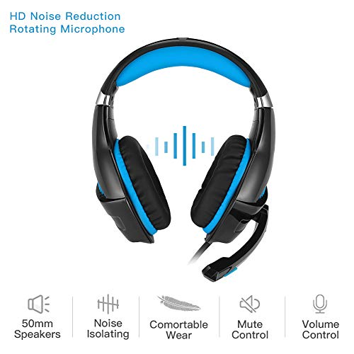 DeepDream Stereo Gaming Headset GM-5 with Noise Cancelling Mic, Led Lights, Volume Control – Compatible with Nintendo Switch, Xbox One, PlayStation 4 and PC