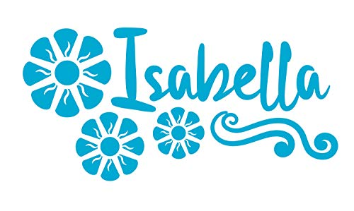 BellaCross Room Decorations for Girls Wall Decal is a Vinyl Wall Decal Displaying a Design Flowers on Isabella Name Wall Decor or Accessories, Similar to Stickers or Posters - ICE Blue ()