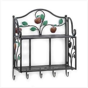 glamorous wrought iron kitchen wall shelves | Amazon.com: WROUGHT IRON COUNTRY APPLE WALL SHELF: Kitchen ...