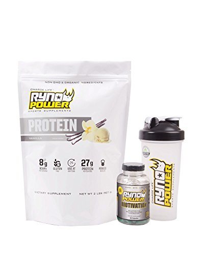 Ryno Power Meal Substitute Pack Includes Protein Powder, Motivation Supplements, and Blender Bottle For After Workout Use Vanilla Flavor