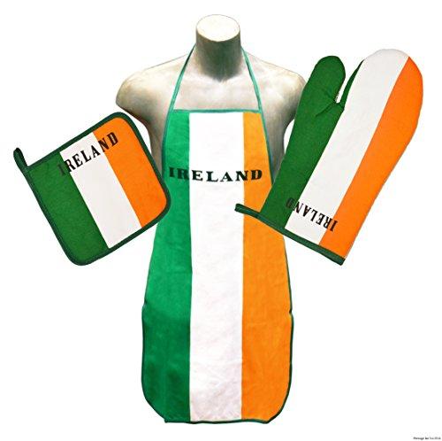 - Ireland Kitchen & BBQ Set *New* w/ Apron, Oven-mitt & Pot-holder Irish