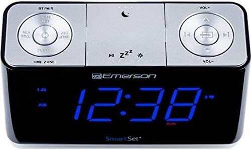 SmartSet Alarm Clock Radio with Bluetooth Speaker, USB Charger for iPhone and Android, Night Light, and Blue LED Display Renewed