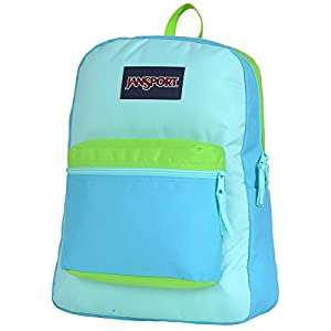"JanSport Overexposed Backpack - Mammoth Blue/Aqua Dash/Zap Green / 16.7""H x 13""W x 8.5""D"