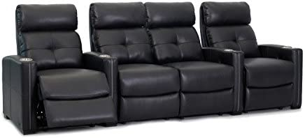 Octane Seating Cloud XS850 Home Theater Chairs – Black Bonded Leather – Manual Recline – Row 4 Seats with Center Loveseat – Space Saving Design