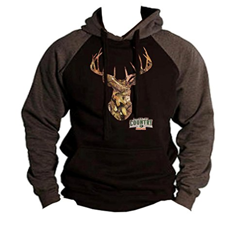 Mossy Oak Camo Deer Head Men's Black/Charcoal Raglan Baseball Hoodie Sweater Large Black