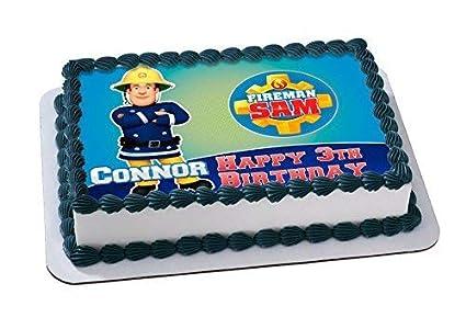 Amazoncom Fireman Sam Cake Edible Cake Topper Personalized